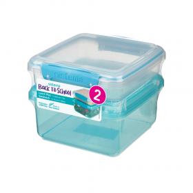Pachet 2 cutii depozitare alimente plastic albastru Sistema Lunch Plus 1.2 L si Sandwich To Go...