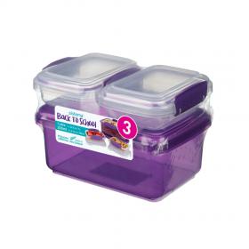 Pachet 3 cutii depozitare alimente plastic mov Sistema Back To School 1L + 2 x 200 ml