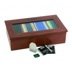 Cutie din lemn maro pentru pliculete ceai APS 33.5 x 20 cm