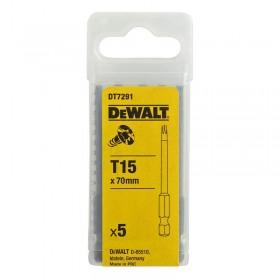 Set 5 biti DeWALT DT7291 de torsiune Torx T15 70mm