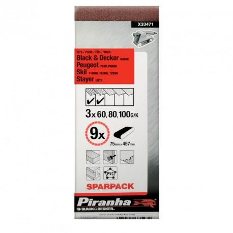 Set 9 benzi abrazive asortate Black+Decker 75x457 mm - X33471