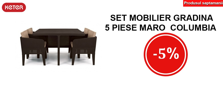 Produsul saptamanii - Set mobilier gradina 5 piese maro Keter Columbia 5% REDUCERE